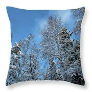 Snowy Trees Against A Blue Sky Throw Pillow