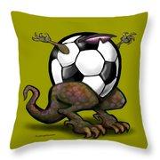 Soccer Saurus Rex Throw Pillow