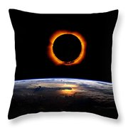 Solar Eclipse From Above The Earth Throw Pillow