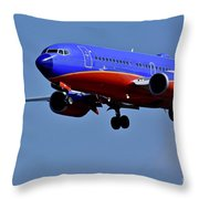 Southwest Airlines Airplane In Flight Throw Pillow