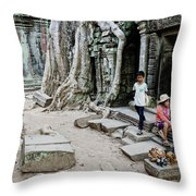 Souvenir Trinket Stall Vendor In Angkor Wat Famous Temple Cambod Throw Pillow