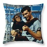 Space: Chimpanzee, 1961 Throw Pillow