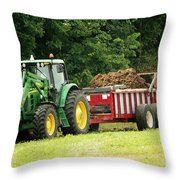 Spreading Manure Throw Pillow