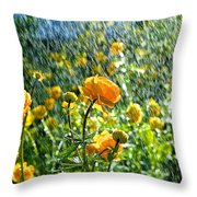 Spring Flowers In The Rain Throw Pillow