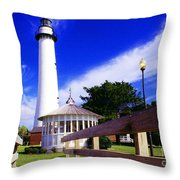 St Simons Island Lighthouse Throw Pillow