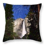 Star Trails At Yosemite Falls Throw Pillow