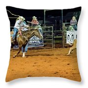 Steer Roping Throw Pillow