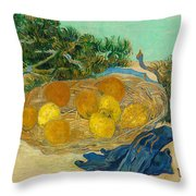 Still Life Of Oranges And Lemons With Blue Gloves Throw Pillow