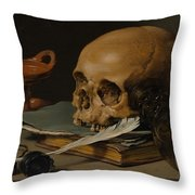 Still Life With A Skull And A Writing Quill Throw Pillow