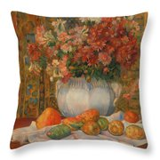 Still Life With Flowers And Prickly Pears Throw Pillow