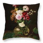 Still Life With Flowers In A Glass Vase And Cherry Twig Throw Pillow