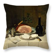 Still Life With Ham Throw Pillow
