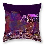 Stork Bird Fly Plumage Nature  Throw Pillow