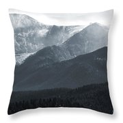Stormy Pikes Peak Throw Pillow