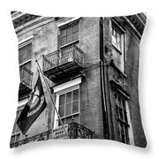 2 Story Building New Orleans Black White  Throw Pillow