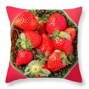 Strawberries In A Wooden Bowl On The Old Wooden Table Throw Pillow