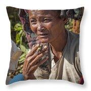 Street Portrait Of A Smoking Woman Throw Pillow