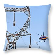 Stringing Power Cable By Helicopter Throw Pillow