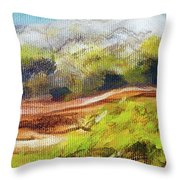 Structure Of Wooden Log Covered With Moss On The Riverside, Closeup Painting Detail. Throw Pillow