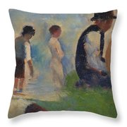 Study For Bathers At Asnieres Throw Pillow