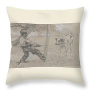 Study For The Unruly Calf Throw Pillow