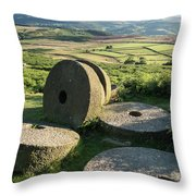 Summer Landscape Image Of Millstones On Top Of Stanage Edge In P Throw Pillow