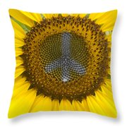 Sunflower Peace Sign Throw Pillow