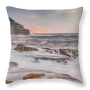Sunrise Seascape And Headland Throw Pillow