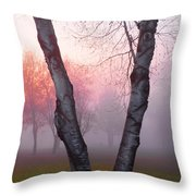 Sunrise Trees Fog Throw Pillow