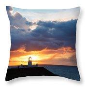 Sunset At Strumble Head Lighthouse Throw Pillow