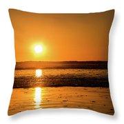 Sunset Over The Ocean Throw Pillow