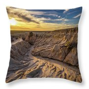 Sunset Over Walls Of China In Mungo National Park, Australia Throw Pillow
