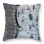 Supermarket Roof And Many Cars In Parking, Viewed From Above. Throw Pillow