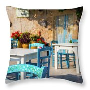 Tables In A Traditional Italian Restaurant In Sicily, Italy Throw Pillow