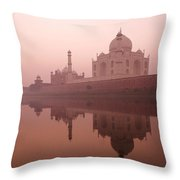 Taj Mahal At Dawn Throw Pillow