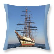 Tall Ship Anchored Off Penzance Throw Pillow