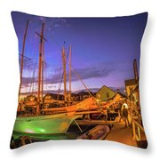 Tall Ships And Yahts Moored In Newport Harbor Throw Pillow