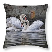 Tango Of The Swans Throw Pillow