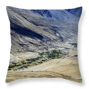 Tangsey Village Landscape Of Leh Ladakh Jammu And Kashmir India Throw Pillow