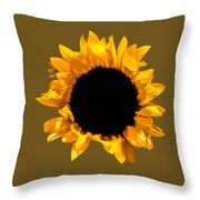 Sunflower Stretching On Brown Throw Pillow