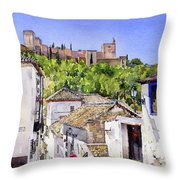 The Alhambra From The Albaicin Throw Pillow