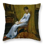 The Artist's Wife And His Setter Dog Throw Pillow