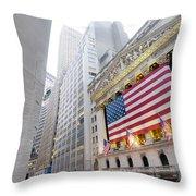 The Facade Of The New York Stock Throw Pillow