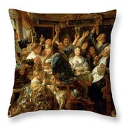 The Feast Of The Bean King Throw Pillow