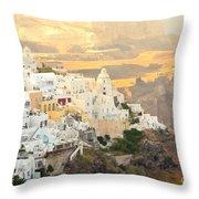The Golden Hour In Fira Throw Pillow