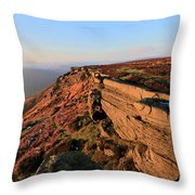 The Gritstone Rock Formations On Stanage Edge Throw Pillow