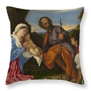 The Holy Family With A Shepherd Throw Pillow