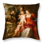The Holy Family With Saints Francis And Anne And The Infant Saint John The Baptist Throw Pillow