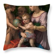The Holy Family With The Young Saint John The Baptist Throw Pillow