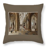 The Interior Of The Onze Lieve Vrouwekerk In Antwerp Throw Pillow